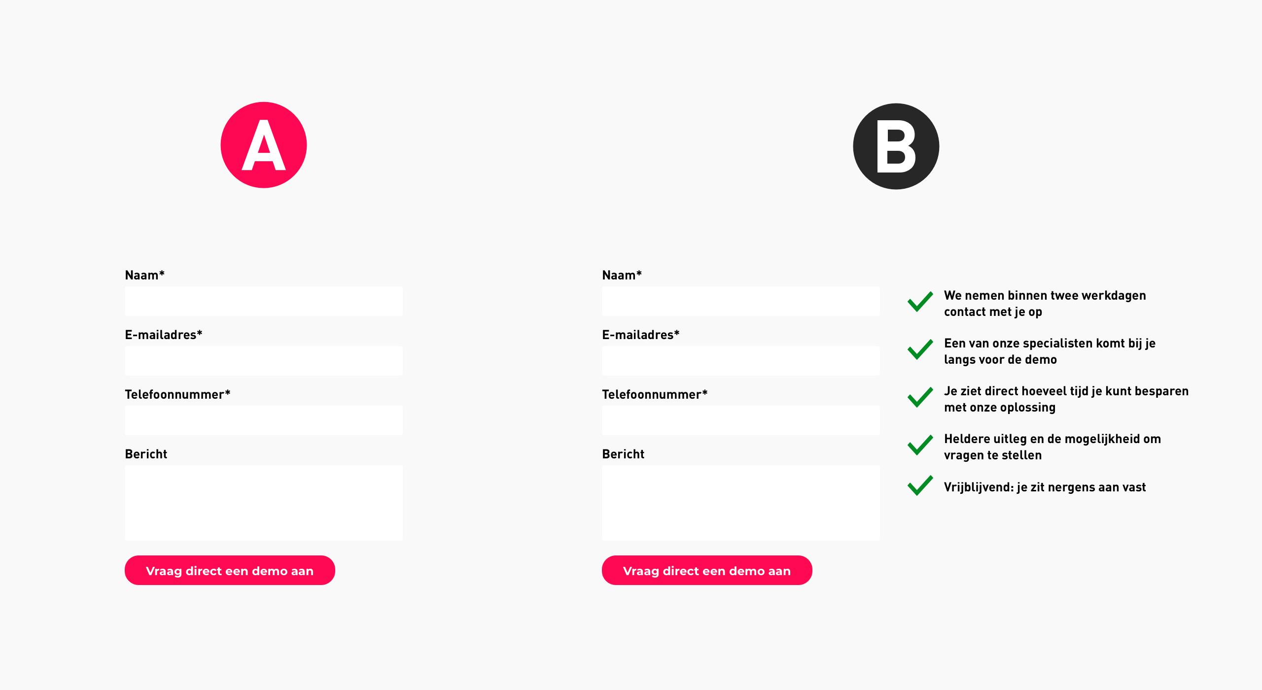 Voorbeeld van een a/b-test voor conversie optimalisatie