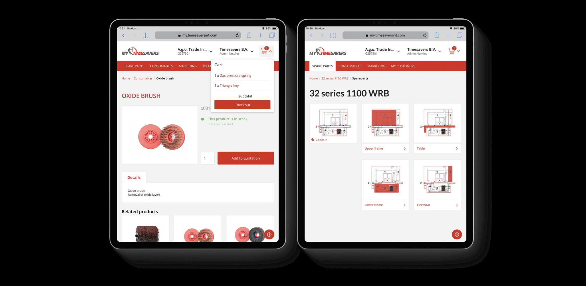 Voorbeeld Sylius e-commercepaltform Timesavers, ontwikkeld door Netvlies.